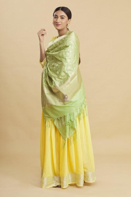 Woven Banarasi Art Silk Floral Tassel Dupatta 9
