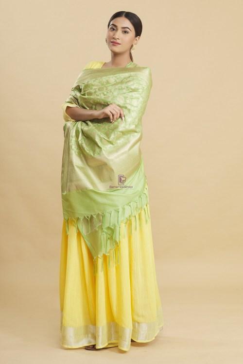 Woven Banarasi Art Silk Floral Tassel Dupatta 10