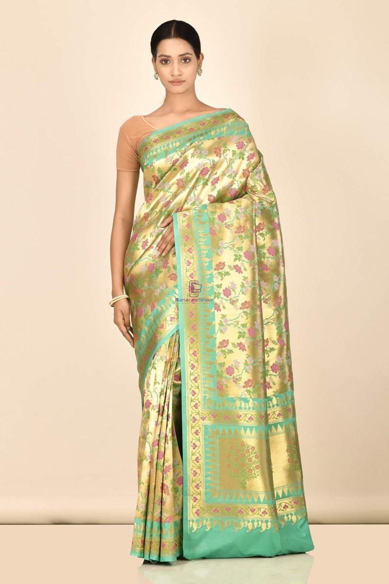 Banarasi Tissue Silk Minedar Saree with Running Blouse Fabric 1