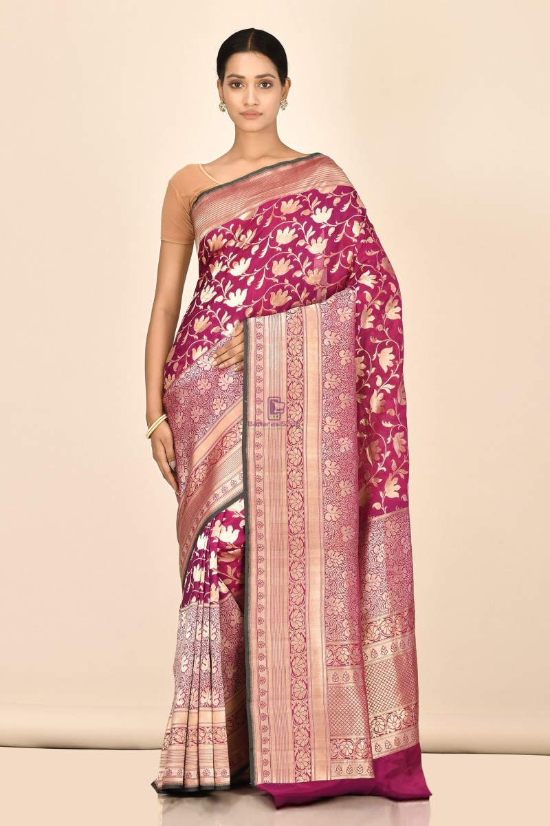 Handloom Uppada Banarasi Katan Silk Saree with Running Blouse Fabric 1