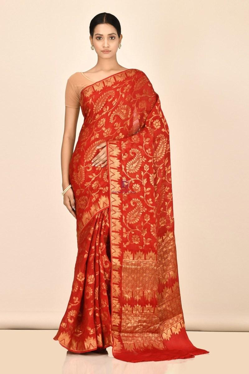 Banarasi Chiffon Silk Saree with Running Blouse Fabric 1