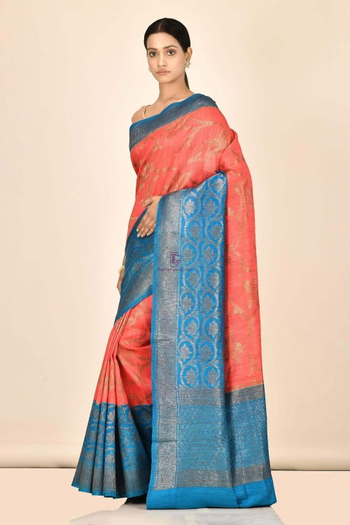 Handloom Dupion Silk Saree with Running Blouse Fabric 5