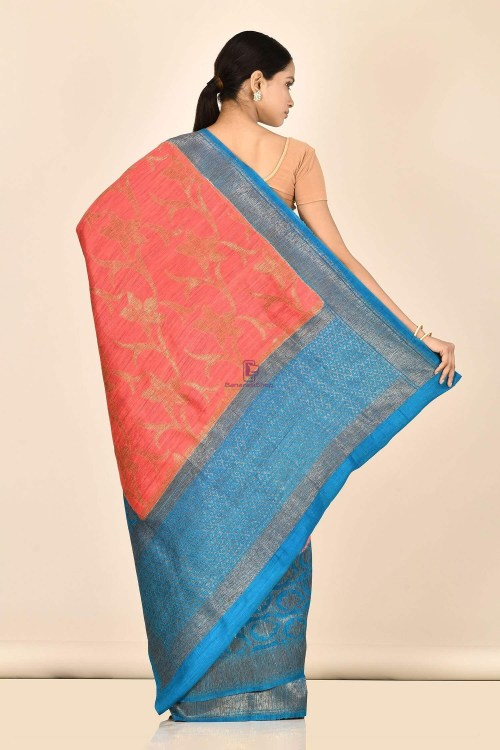 Handloom Dupion Silk Saree with Running Blouse Fabric 6