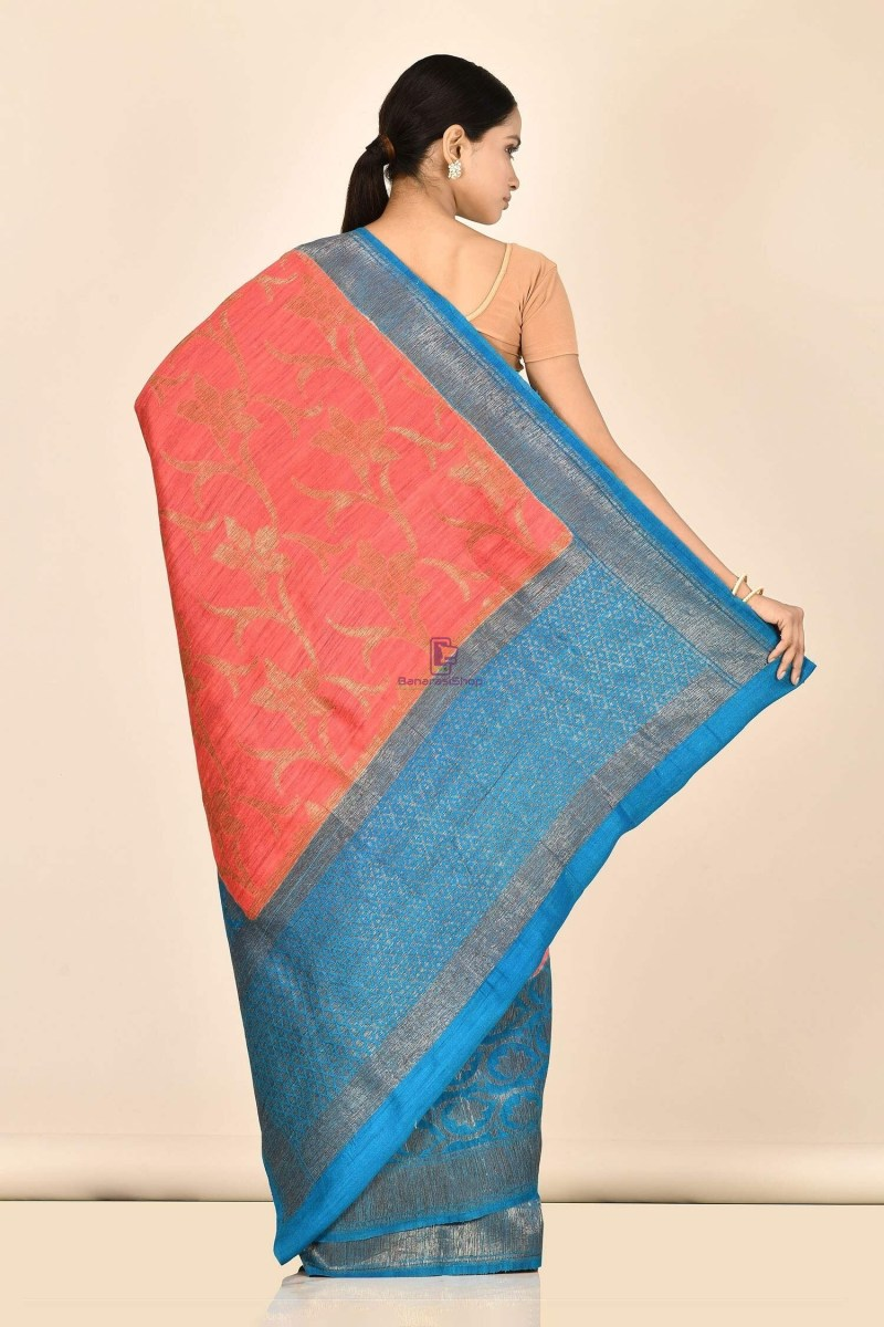 Handloom Dupion Silk Saree with Running Blouse Fabric 3