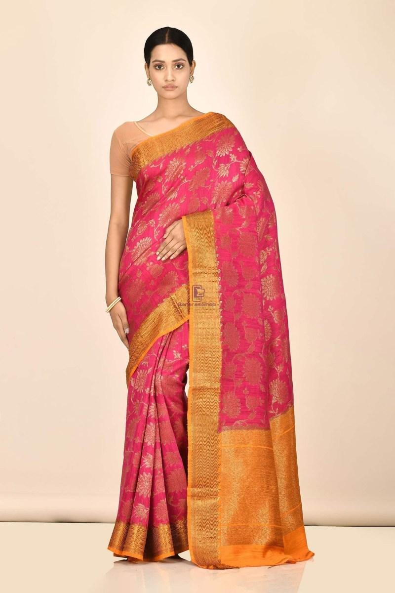 Handloom Dupion Silk Saree with Running Blouse Fabric 1
