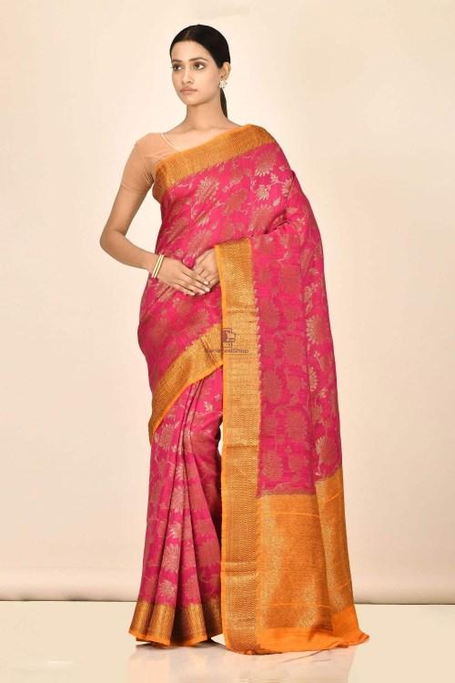Handloom Dupion Silk Saree with Running Blouse Fabric 5