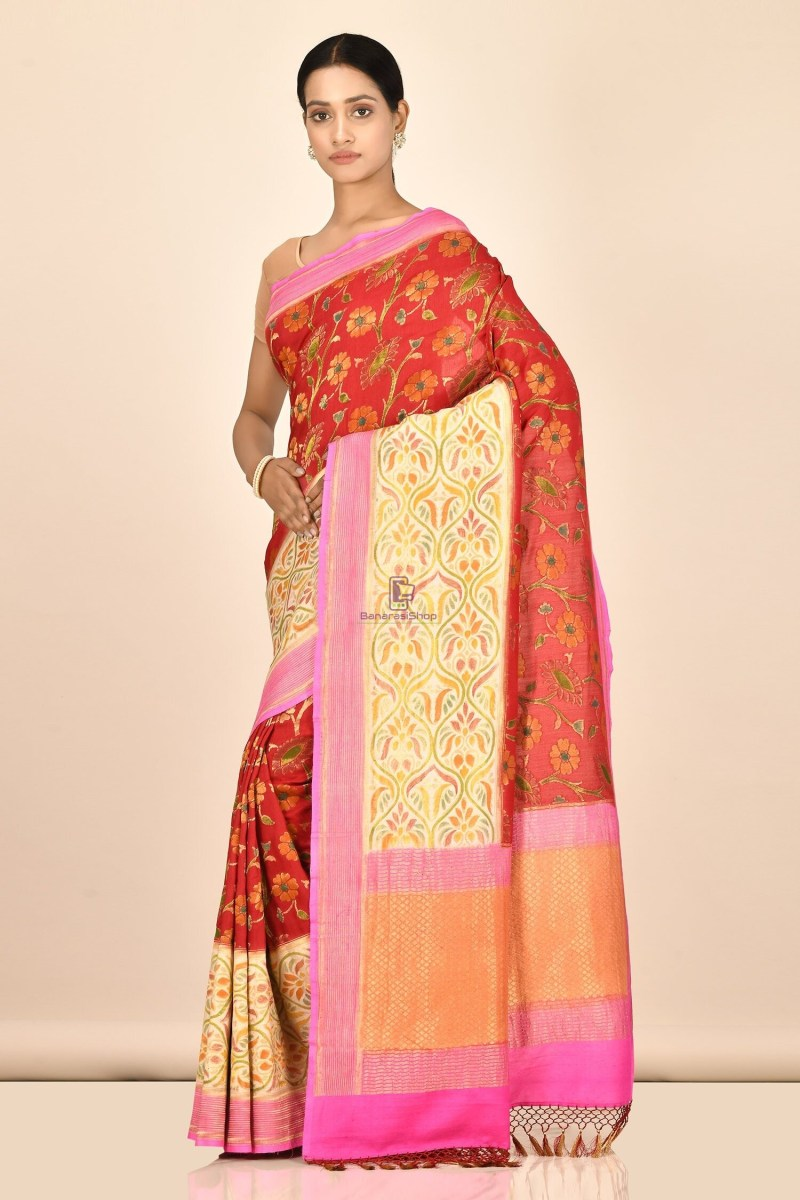 Handloom Hand Painted Banarasi Munga Silk Saree with Running Blouse Fabric 2