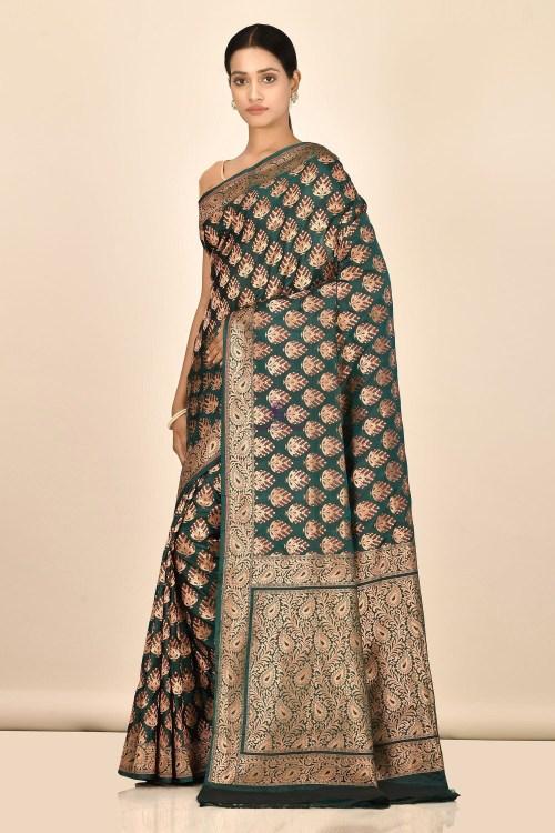 Handloom Uppada Banarasi Katan Silk Saree with Running Blouse Fabric 5