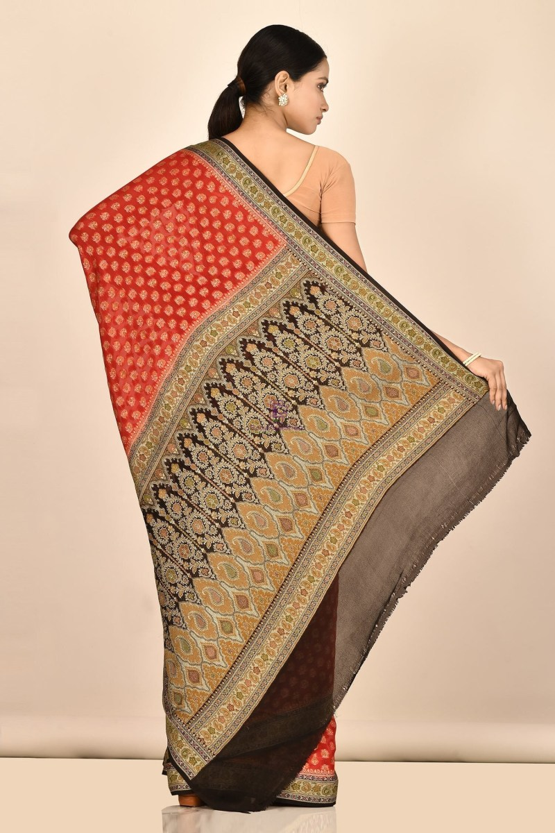 Banarasi Chiffon Silk Saree with Running Blouse Fabric 3