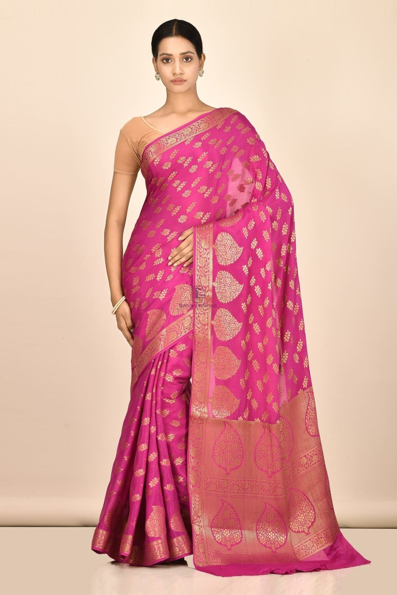 Banarasi Chiffon Silk Saree with Running Blouse Fabric 1