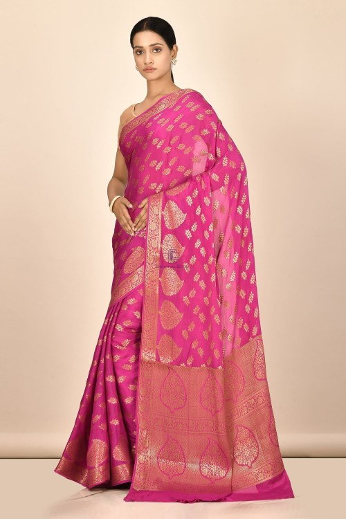Banarasi Chiffon Silk Saree with Running Blouse Fabric 5