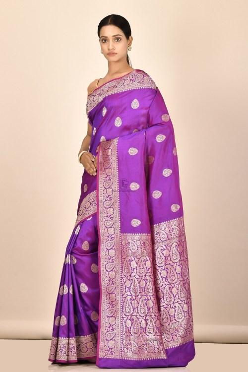 Handloom Banarasi Kadhuwa Katan Silk Saree with Running Blouse Fabric 5