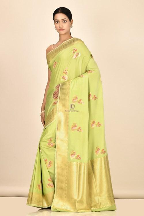 Banarasi Silk Minedar Saree with Running Blouse Fabric 5
