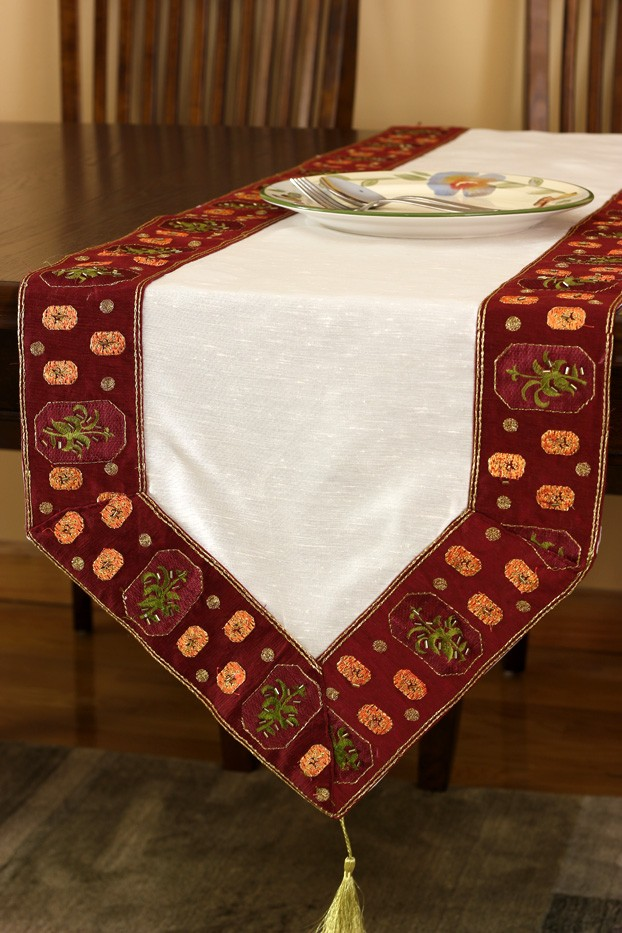 Glamorous Border Hand Embroidered Table Runner  Banarsi Designs