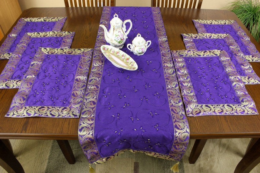 Hand Embroidered 7Piece Placemat  Table Runner Set