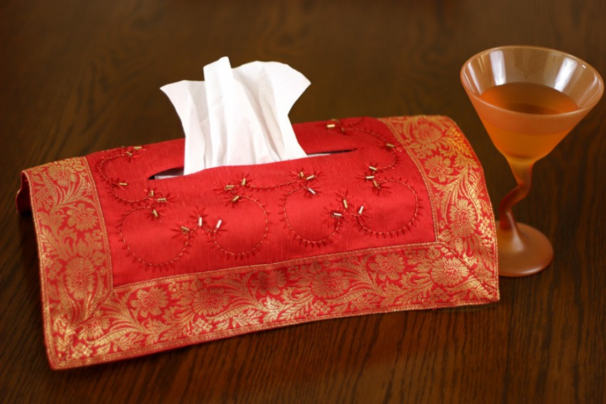 Hand Embroidered Decorative Tissue Box Cover  Banarsi Designs