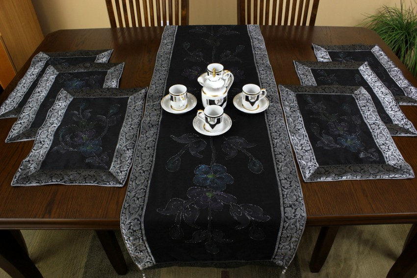 Hand Painted 7Piece Placemat  Table Runner Set  Banarsi