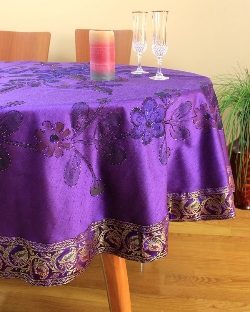 Hand Painted Floral Round Tablecloth  70  90 Round