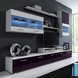 bmf logo ii wall unit led lights white violet high gloss tv stand display cabinets wall shelf modern