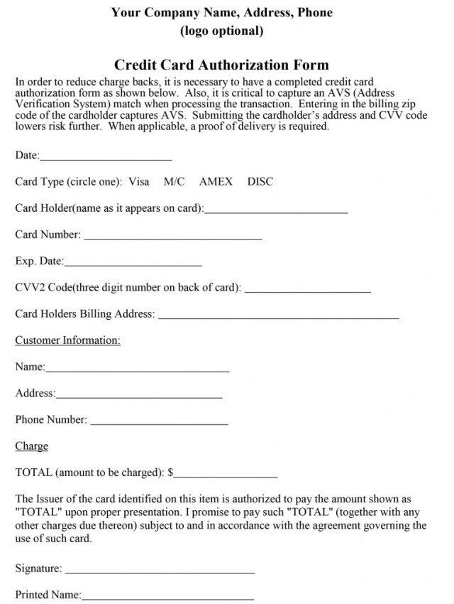 Credit Card Authorization Form Sample Credit Card Payment