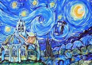 Image détournant l'église d'Auvers sur Oise en y rajoutant le TARDIS de Doctor Who