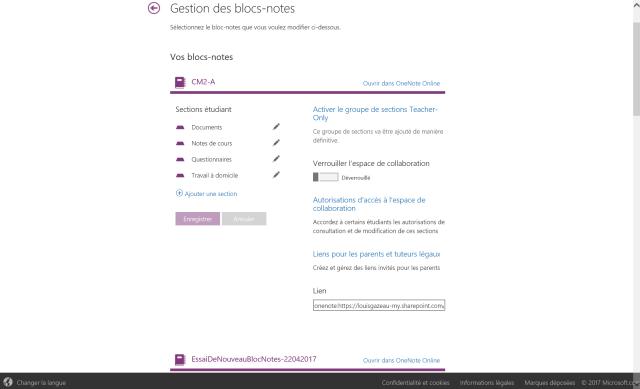 OneNote et la gestion détaillée d'un classeur class notebook