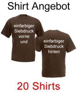 20 T-Shirts vorne und hinten einfarbig bedruckt