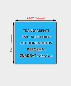 Transparente Aufkleber Quadratisch 7,4cm