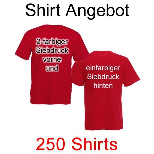 250 T-Shirts vorne 2-farbig und hinten einfarbig bedruckt
