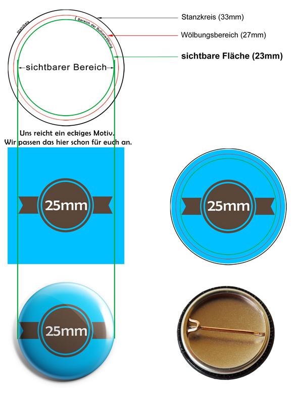 25mm Buttons Vorlage