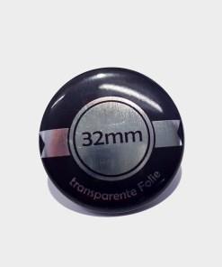 32mm silber buttons auf transparenter Folie