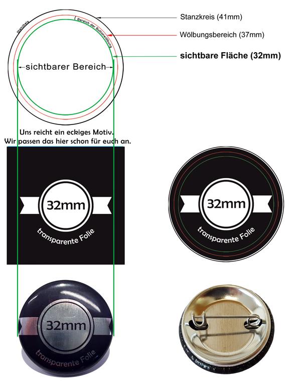 32mm Silber-Buttons Vorlage