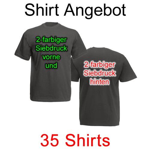 35 T-Shirts vorne und hinten zweifarbig bedruckt