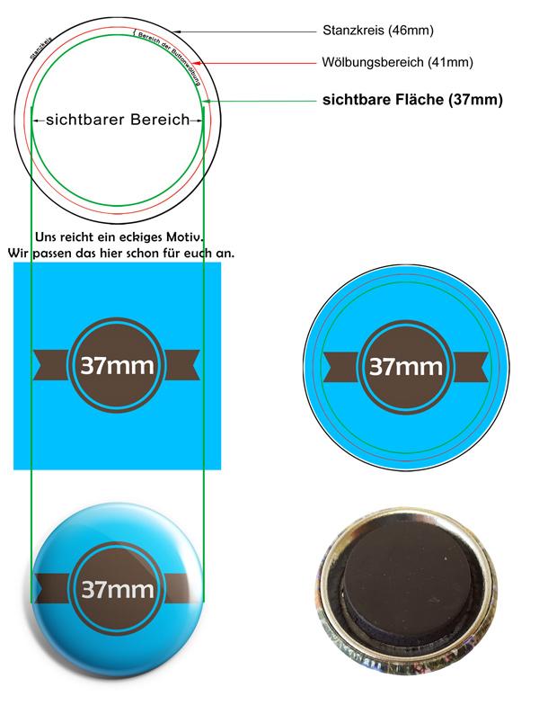 37mm Buttons Kühlschrankmagnet Vorlage