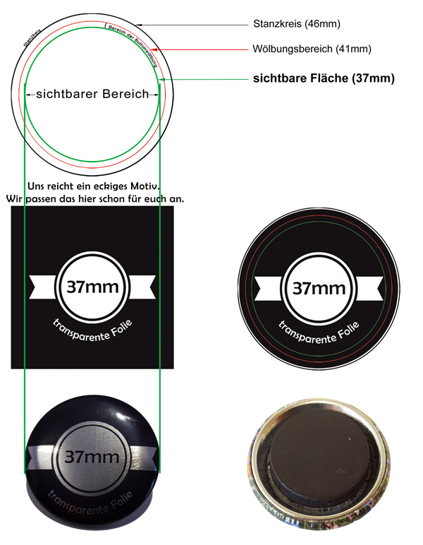 37mm SilberButtons mit Magnet