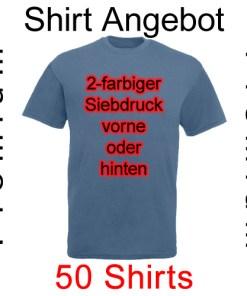 50 premium Shirts mit 2-farbigem Siebdruck mit deinem Motiv