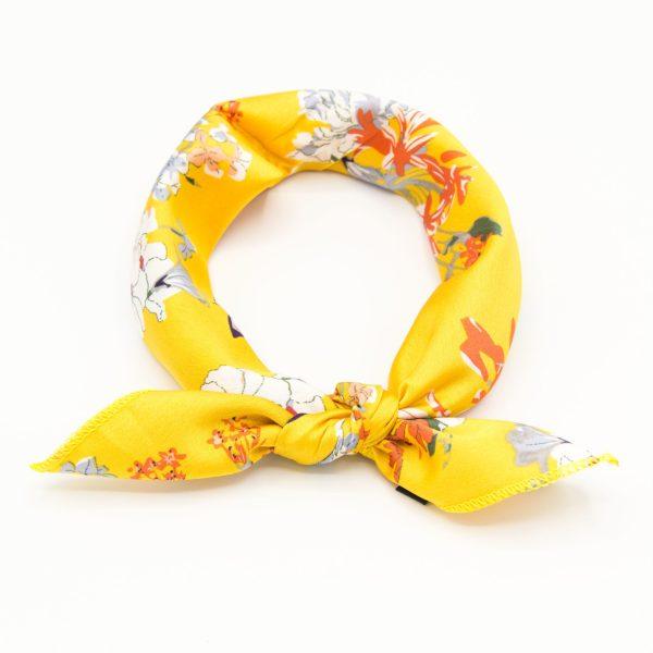 bandana femme jaune à fleurs