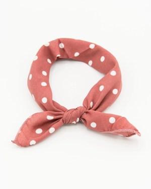 bandana rose pour femme à pois blanc