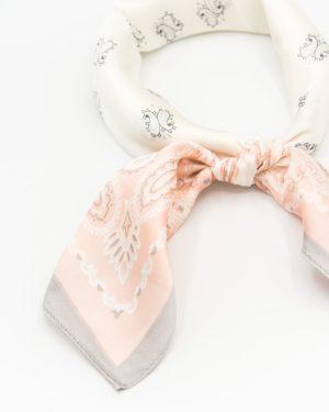 bandana satin rose et blanc