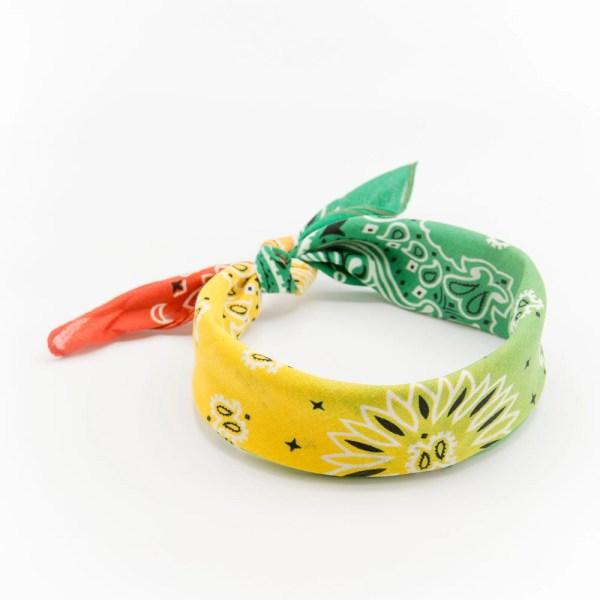 bandana homme ou femme avec dégradé orange jaune et vert