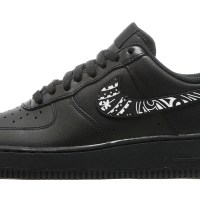Black Bandana Custom Nike Air Force 1 Shoes Black Low Swoosh