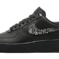 Black Bandana Scarf Custom Nike Air Force 1 Shoes Black Swoosh