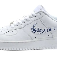 Navy Blue Bandana Custom Nike Air Force 1 Shoes White Low Swoosh