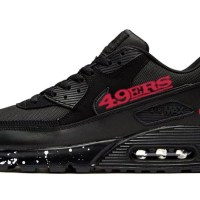 SF 49ers White Splat Custom Nike Air Max Shoes Black
