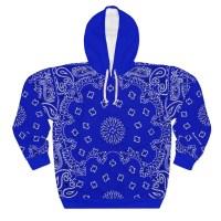 Royal Blue Bandana Custom Hoodie Pullover Blue