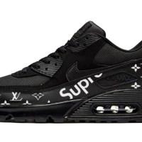 Black Supreme LV Custom Nike Air Max Shoes Black