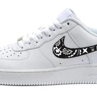 Black Bandana Custom Nike Air Force 1 Shoes White Low Solid Swoosh