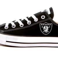 Las Vegas Raiders Mini Custom Converse Shoes Black Low