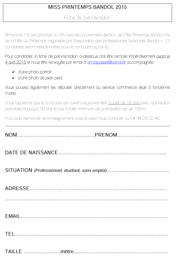 Fiche pre-inscription Miss Printemps 2015