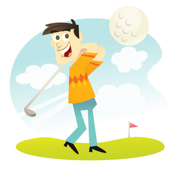 A vector illustration of a happy male golfer.